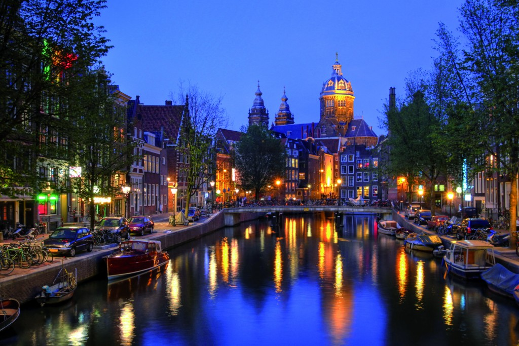 St. Nicholas Church in Amsterdam at twilight, The Netherlands