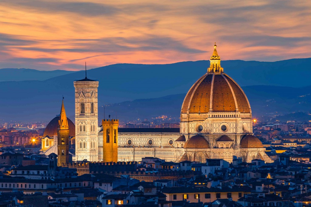 Twilight at Duomo Florence in Florence, Italy.